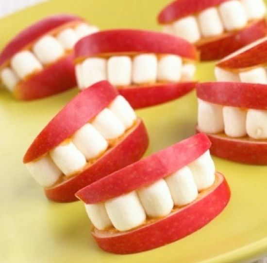 Apple Smiles  This is a simple but fun party food idea that you could literally bite your teeth into. All you will need are mini marshmallows, apples, lemon juice and peanut butter! : ):