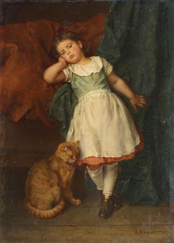 Ludwig Knaus (1829-1910) — Little Girl with Cat,   1867 (931×1300):