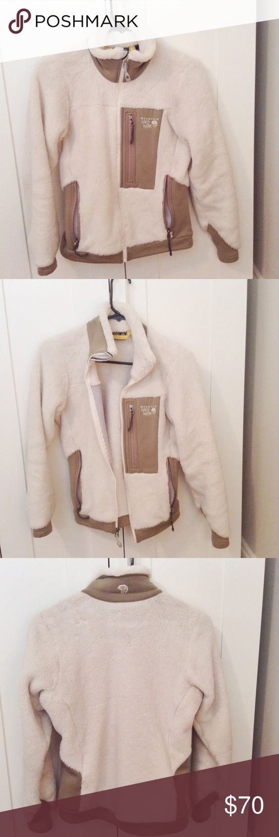 "Mountain Hard Wear ""Monkey Woman Jacket"" This off-white zip up is perfect for lounging, camping, hiking, skiing, or chatting around the fire. In good condition, willing to sell at a discount if bundled with Women's Chacos (also listed in shop, size 7). Mountain Hard Wear Jackets & Coats Utility Jackets"