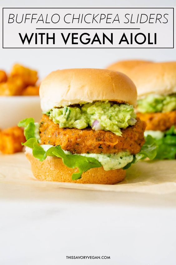 Buffalo Chickpea Sliders with Vegan Basil Aioli - This Savory Vegan