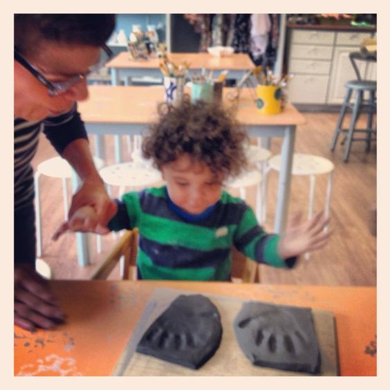 Making a Father's Day Gift! Wet clay hand print impressions at Art by You at Weirdgirl Creations Pottery Studio in Barrington RI