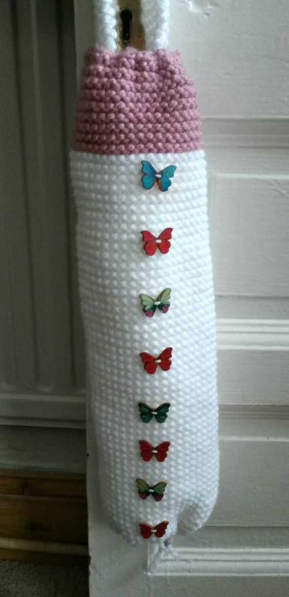 Handmade Carrier Bag Holder by Woolyhearts on Etsy