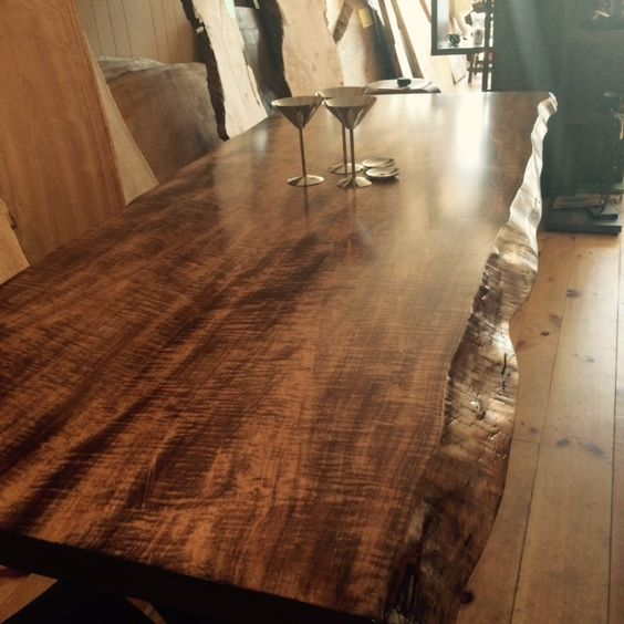 live edge, maple, live edge dining table, wood dining table, curly maple table…