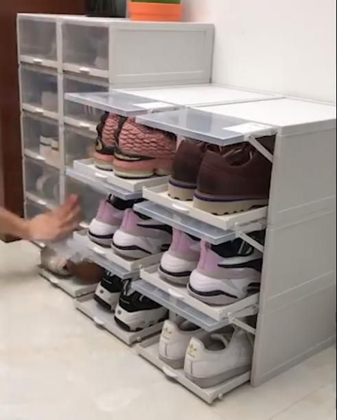 Our Shoe Storage Boxes Have Drop Front Doors So You Can Easily Access Your Shoes Even When Units Are Stac In 2020 Closet Shoe Storage Shoe Storage Cabinet Shoe Storage