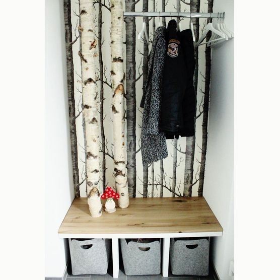 Diy Birken Garderobe Garderobe Selber Bauen Ideen Garderobe Diy