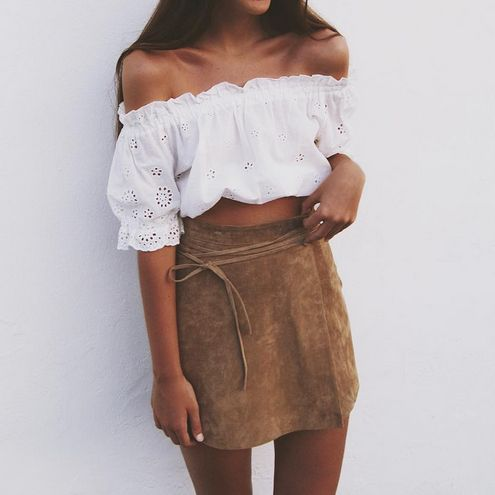 eyelet crop top + suede skirt: