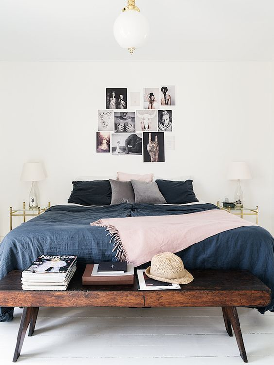 Love the look of this bedroom, combining shades of gray, blue + pink into the decor.