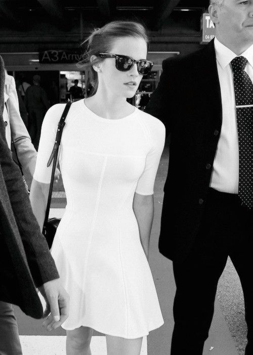 Emma Watson in white. Also some #fitspiration