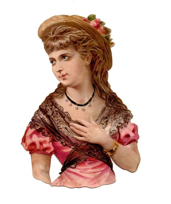 Antique Victorian Die Cut Scrap lady in pink  1800 s: