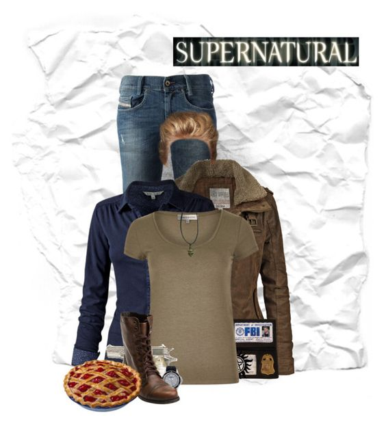 """Dean Winchester"" by cakeiddy ❤ liked on Polyvore featuring Diesel, Fat Face, Timex, Steve Madden, supernatural, winchester, dean and spn"
