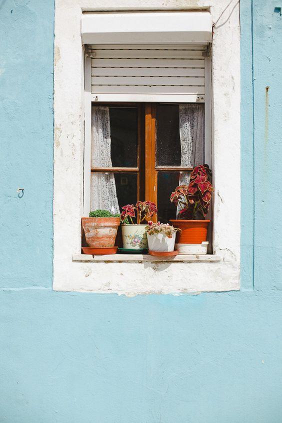 Lisbon Photo, Blue Wall Crochet Curtains, Travel Photo by hellotwiggs
