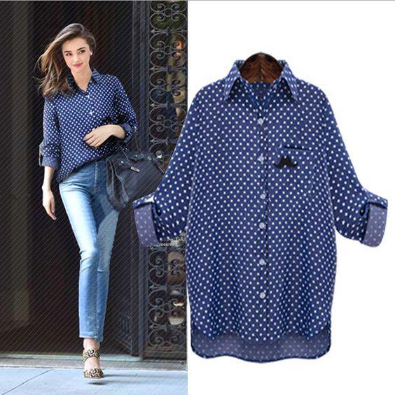 2015-Summer-Dark-Blue-Jeans-Shirt-Women-Plus-Size-Female-Jeans-Shirts-Print-Turn-down-Collar.jpg (739×741)