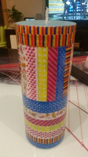 Washi tape candle