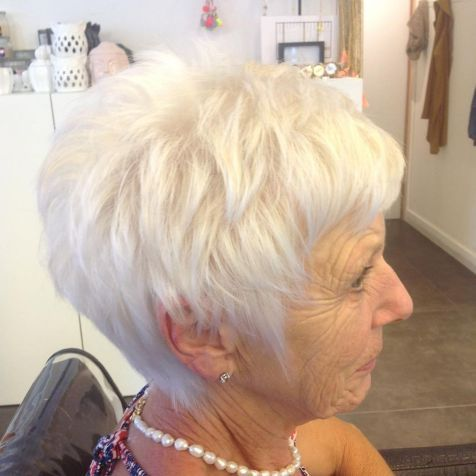 #27: Short Tapered Pixie with Textured Crown Short hairstyles for women over 70 are super easy to keep tidy and low maintenance. With a length like on the photo, only a bit of a product is necessary. You may style without a comb, just running your fingers through your hair and defining layers.