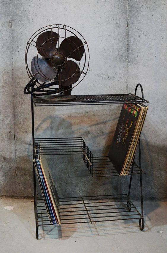 Black Metal Record Stand Vintage Wire Three Shelf Record