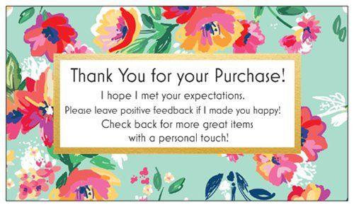 100 Professional Thank You Cards Ebay Poshmark Etsy Seller Feedback Fun Green Floral By Lestroisj On Etsy Thank You Cards Etsy Seller Purchase Card