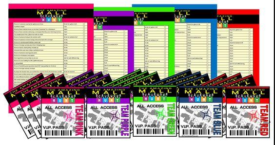 Teen Mall Scavenger Hunt Party Kit - Printable - NOW EDITABLE. $10.99, via Etsy.