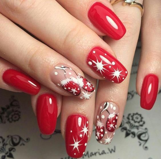 50+ Easy and Eye,catching Christmas Nail Designs; red nails