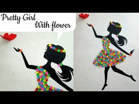 Diy Room Decor Ideas Making Girl With Flower Dress Wall Decor With Flower Flower Girl Youtube Diy Paper Flower Wall Diy For Girls Room Diy