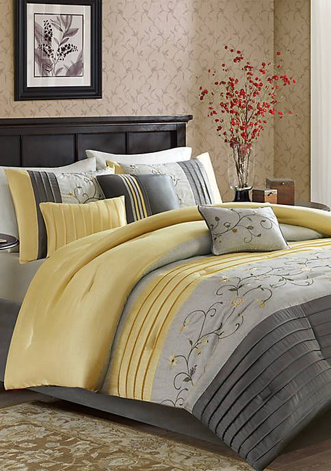 Serene Embroidered 7 Piece Yellow Comforter Set Yellow Comforter Set Comforter Sets Duvet Cover Sets