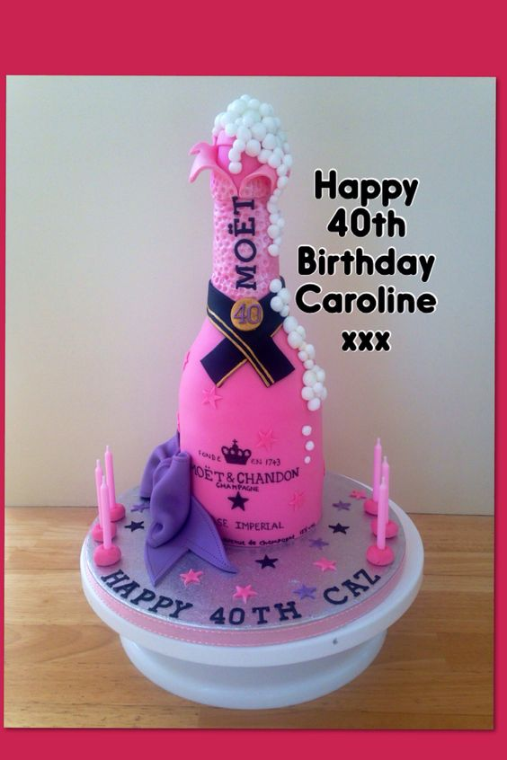 Images Of Birthday Cake And Champagne : Wenlock Cake Co.. 40th birthday pink champagne bottle cake ...
