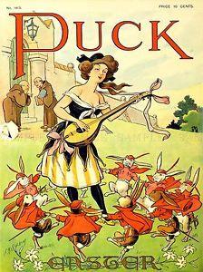 MAGAZINE-COVER-PUCK-MINSTREL-RABBIT-DANCE-EASTER-USA-ART-POSTER-PRINT-LV1937