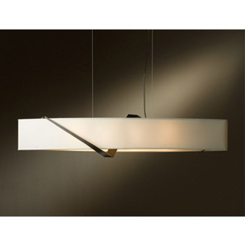 Stream Bronze Four-Light Linear Pendant with Natural Anna Shade