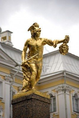 The golden statue of the Grand Cascade. The fountains of Peterhof