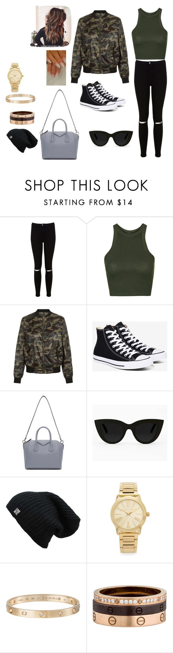 """la look"" by shania-collier on Polyvore featuring Miss Selfridge, Topshop, New Look, Converse, Givenchy, Quay, Michael Kors and Cartier"
