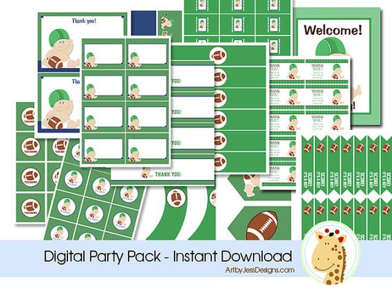 Football Baby Sports Theme Digital Baby Shower Party Pack INSTANT DOWNLOAD on Etsy, $19.95