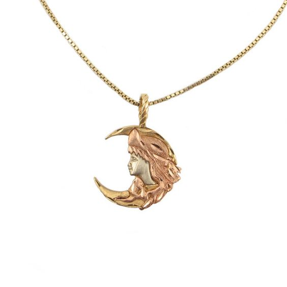 14K Rose White & Yellow Gold Girl in Moon by EncoreJewelryandGems, $225.00