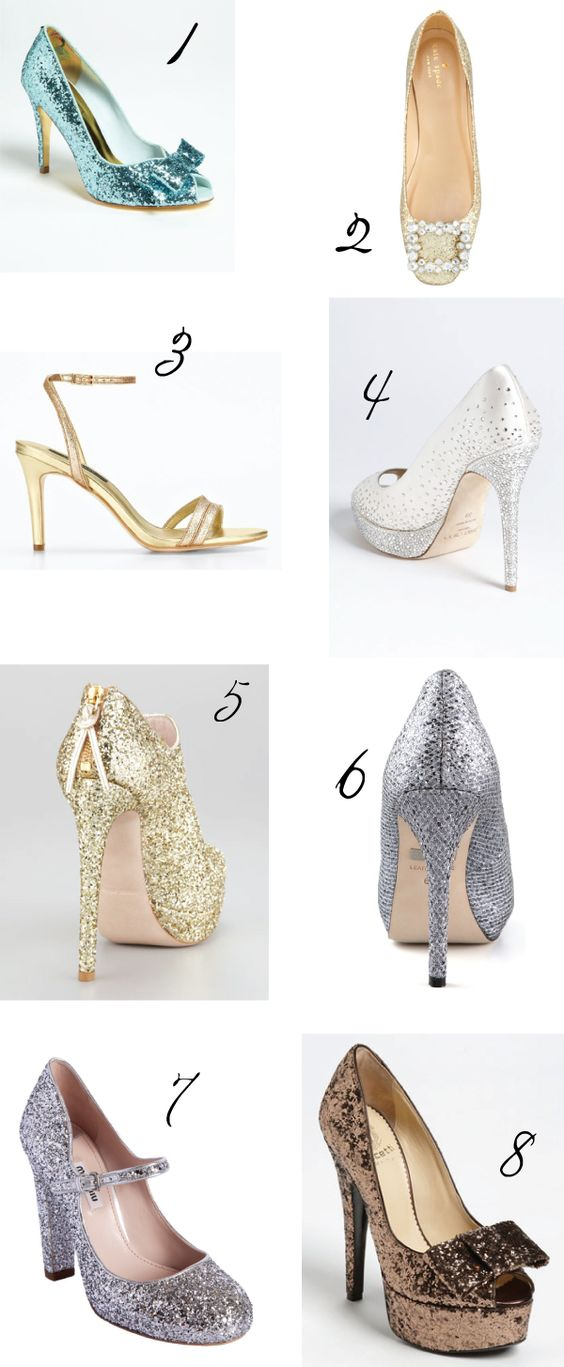 Holiday Glitter Wedding Shoes via One Hitched Lane