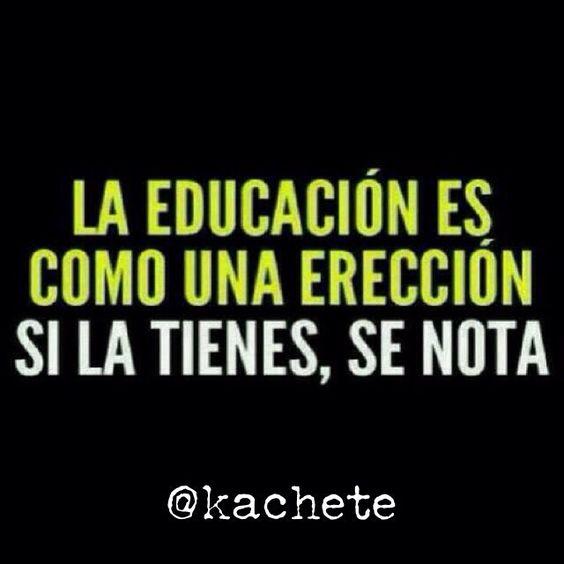 La educación es como una erección. Si la tienes, se nota. #kachete #frases #vida #RegalenSonrisasSonriendo