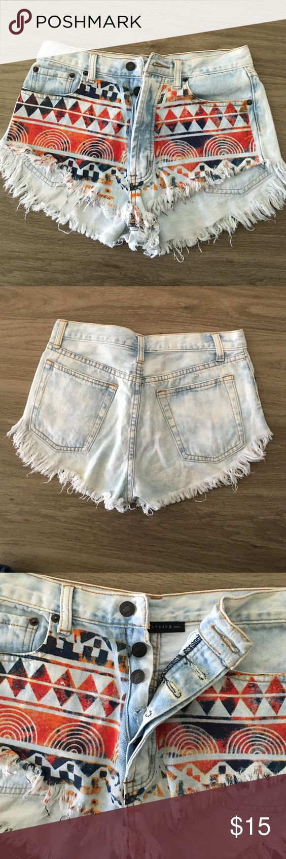 Tribal cutoff shorts Tribal shorts, size small. Good condition missing third button Shorts Jean Shorts