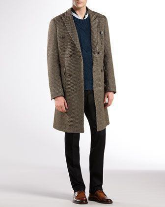 Double-Breasted Overcoat, Wool-Cashmere Sweater & Flannel-Weave 60s Skinny Pants by Gucci at Bergdorf Goodman.