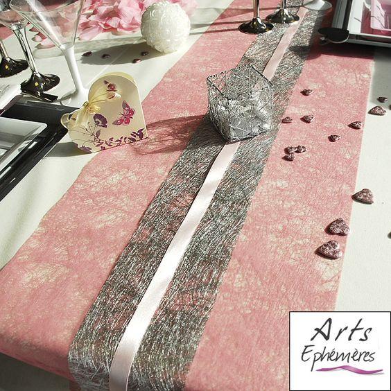 Table de mariage: Grise / Rose & Blanche - Blog de déco Arts Ephemeres