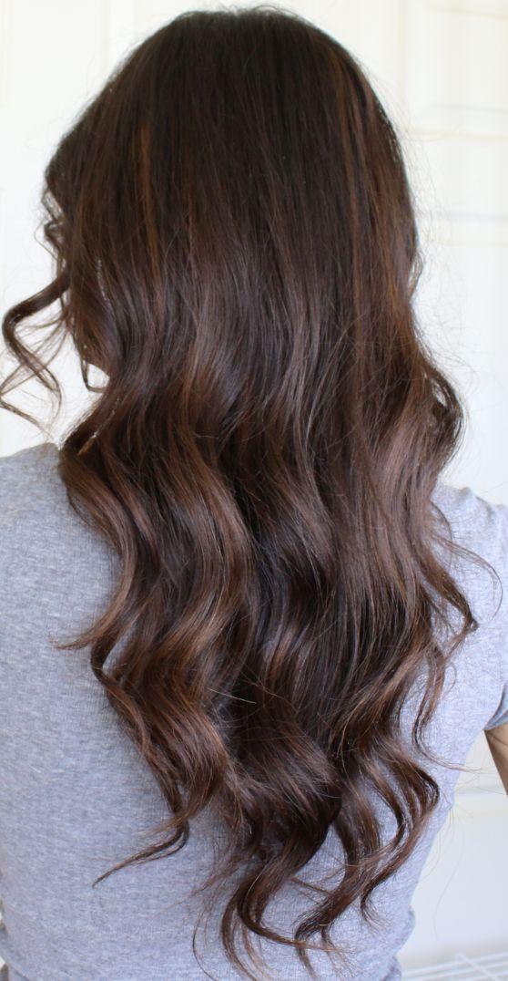 Auburn Balayage Highlights On Brunette Hair Dark Brown