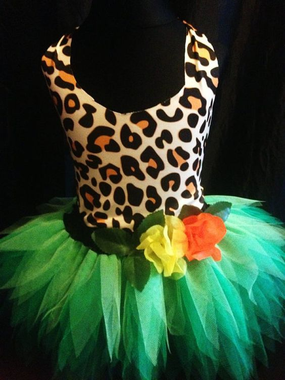 Childrens Katy Perry Roar Costume Jungle Tutu Green Forest ...