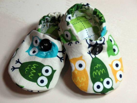 Baby Crib Shoes Boys Owls Green Yellow Blue