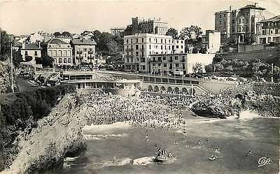 Biarritz France 1940 Real Photo Postcard Old Port Beach Hotels Beau des Roches