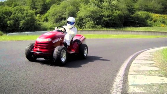 Honda lawn mower with 130mph driven by: The Stig
