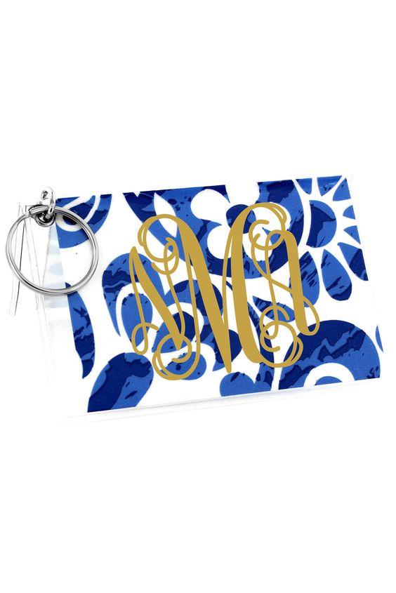 Royal Blue Floral Paisley Vinyl ID/Credit Card Holder with Keyring #7470