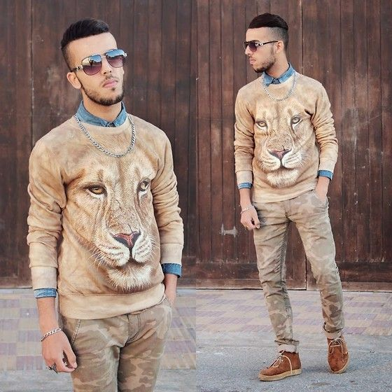 Choies Brown 3 D Unisex Sweatshirt With Lion Print, Zubrio #fashion #mensfashion #menswear #mensstyle #style #outfit #ootd