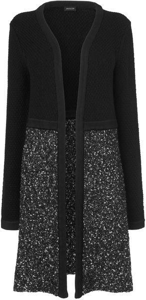 JAEGER LONDON Tweed Knitted Longline Cardi