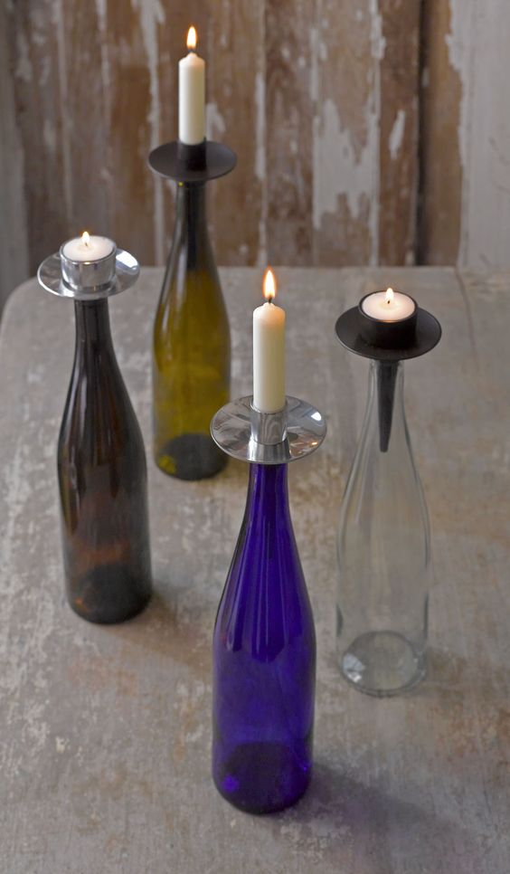 Want something a little different for your home? #bottelabra #candles #tealights #winebottles #wine #northernlightscandles