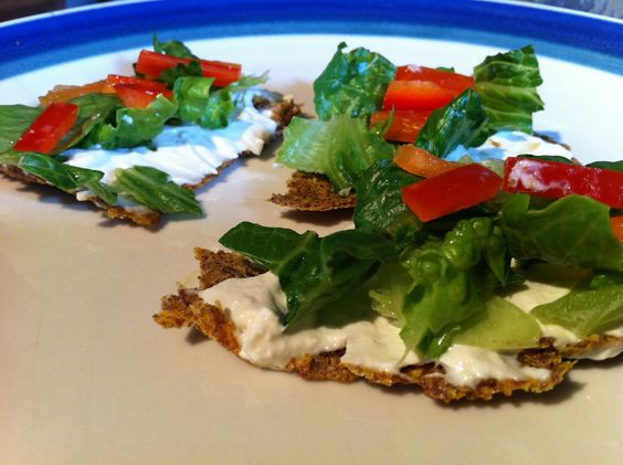 "RAW Vegan flax ""bread"" with cashew cheese and veggies"