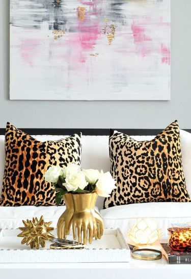 Bliss at Home Fall Home Tour with animal print designer Jamil pillows, gold accents, black and white glam decor: