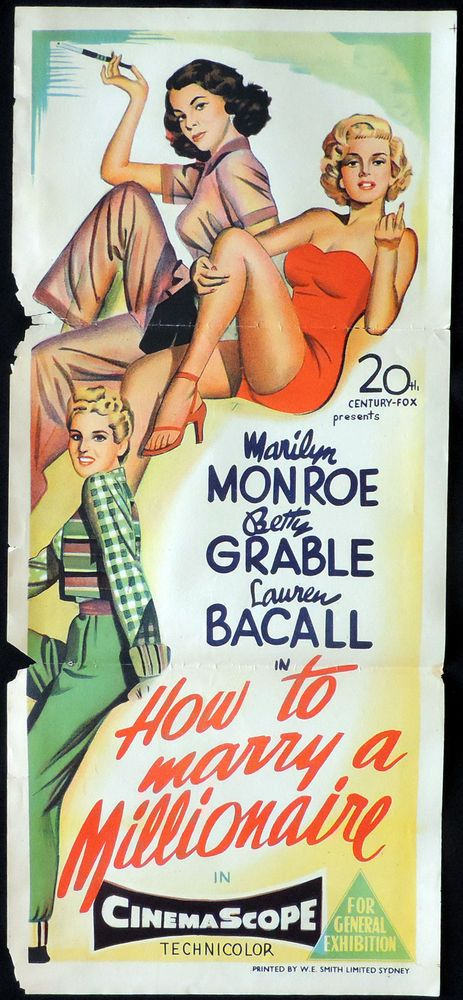 """""""How To Marry A Millionaire"""" - Marilyn Monroe, Betty Grable and Lauren Bacall. Australian Daybill (Insert) Movie Poster, 1953."""