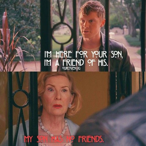 "American Horror Story: Freak Show  ""My son has no friends.""  Evan Peters as Jimmy Darling and Frances Conroy as Gloria Mott."