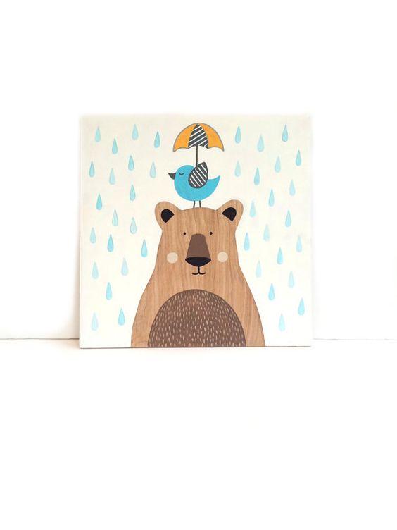 Wand Kunst 12 x 12 Bear Nursery Kunst Vogel von SweetBananasArt